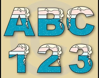 Elsa (Frozen) Alphabet Letters & Numbers Clip Art Graphics
