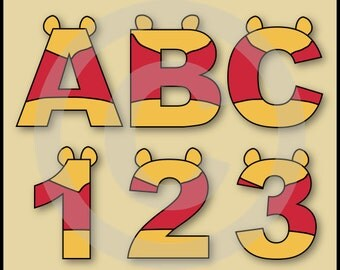 Winnie The Pooh Alphabet Letters & Numbers Clip Art Graphics