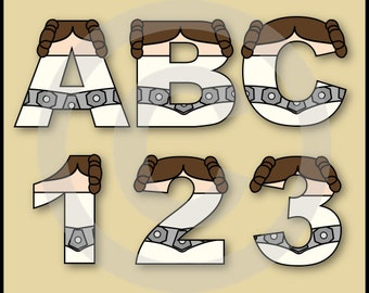 Princess Leia (Star Wars) Alphabet Letters & Numbers Clip Art Graphics