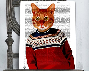Ginger Cat art in Ski Sweater Marmalade Cat poster ski poster ski lodge decor Ginger Cat print ginger cat poster lake house décor wife gift