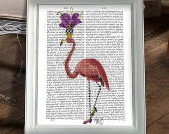 Bird illustration - Mardi Gras Pink Flamingo Print, Full - mardi gras decorations Flamingo Wall art bird painting Silly hats cute art gift