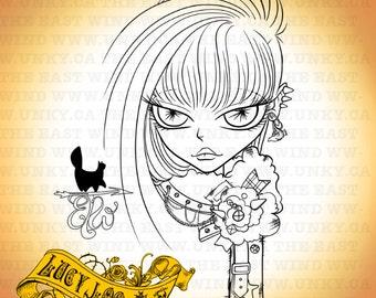Digital Stamp- Lucy Loo 'DIY Punk' - 300dpi JPEG/ PNG - MAC0197