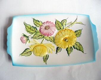 Vintage Porcelain Flower Platter, Flower Platter, Porcelain,, Shabby Chic, Cottage Chic, Vintage Platter