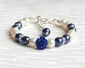 Wedding Jewelry, Navy Blue Flower Girl Bracelet, Dark Blue Flower Bracelet, Beaded Jewelry, Flower Girl Jewelry, Wedding Accessories