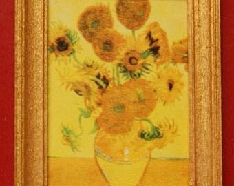Dollhouse Framed Fine Art Stamp Van Gogh's Sunflowers