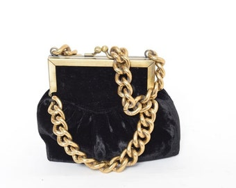 Vintage 80's Mini Black Velvet Chain Purse