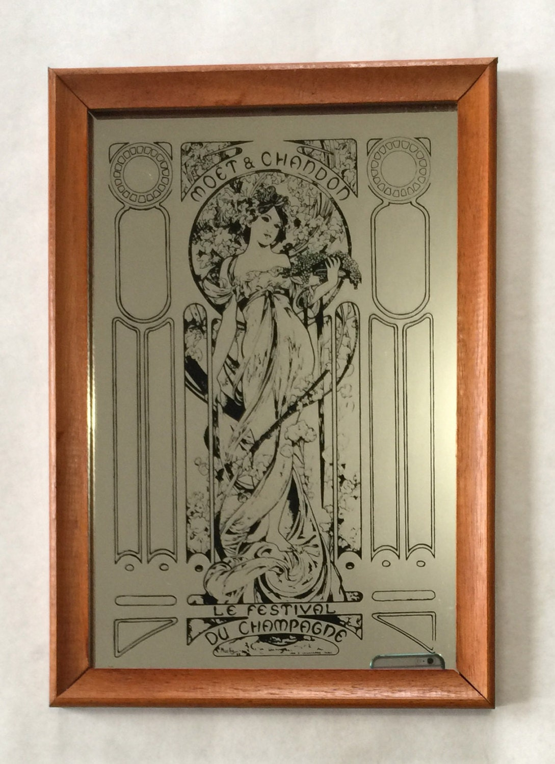 Vintage Moet Amp Chandon Pub Mirror Design By Alphonse Mucha