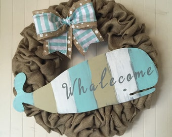 Whale wreath, whalecome wreath, summer wreath, wreath, burlap wreath, nautical wreath, beach wreath