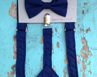 Boys Suspenders Bow Tie set Navy Blue