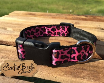 Pink leopard dog collar, animal print dog collar, quick release dog collar