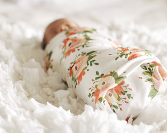Organic Pink Floral bouquet Swaddle Blanket