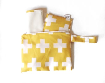 SALE Diaper Clutch Set: 3 piece w/diaper/changing pad and wipes case- Yellow Cross
