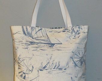 LARGE Nautical Tote Bag