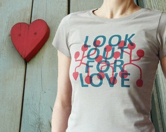 Look out for Love, fairtrade organic shirt for women, sizes XS-L, 100% organic cotton. Sand colour (opal).