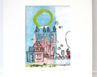 Tower 1, Monoprint & Drypoint