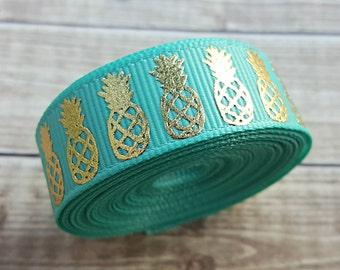 5/8 inch TROPIC PINEAPPLE grosgrain ribbon