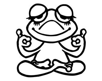 "Yoga Frog Vinyl Decal Sticker - Zen Lotus Peaceful Hippie 5"" x 5"" *Free Shipping*"