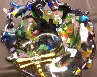 Fused GLass Bowl with Dragonfly-Multi colored