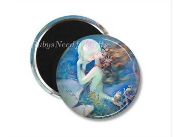 Mermaid Magnet,  2.25 inch Magnet,  Birthday gift, fridge magnet,  Gifts under a Fiver,  Button Magnet, Mermaid.