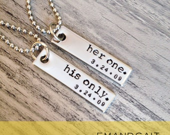 Her One, His Only, Couples Jewelry, Couples Necklace Set, Deployment, Military Wife, Military Spouse