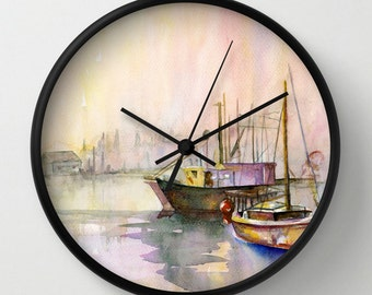 2 Boats Wall Clock