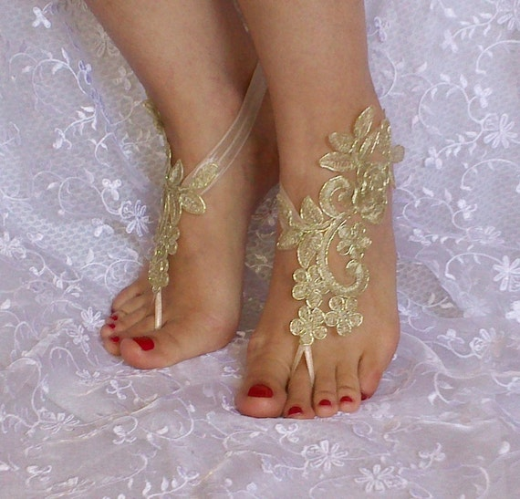 Gold bridal barefoot sandals, Bridal Accessories, dance shoes, Party, Shoe accessories, wedding bridal bohemian gold