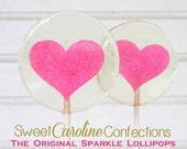 Hot Pink Lollipops, Pink Heart Lollipops, Hot Pink Favors, Pink Wedding Favor, Lollipops, Sweet Caroline Confections-Set of Six