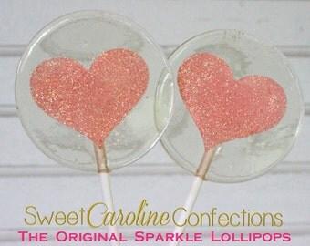 Coral Sparkle Heart Lollipops, Heart Lollipops, Coral Favors, Coral Wedding Favor, Lollipops, Sweet Caroline Confections-Set of Six