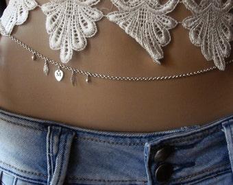 Sterling silver 925, Personalize Body jewelry, Bikini, Waist Chain, Beach Jewelry, Silver Belly chain, Wedding accessories