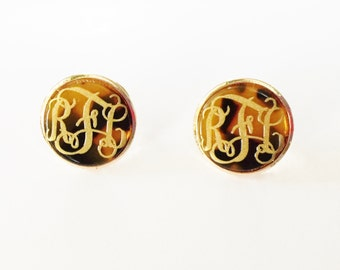 Monogrammed Tortoise Shell Post Earrings
