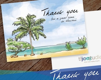 Hawaii Thank you Greeting Card, Thank you Hawaii, USA 5x7 card blank inside with white envelope.