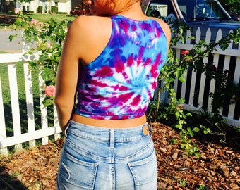 Custom Tie Dye Crop Tank Top You Choose Any Colors college pride, sports team, cheer, school pride, team colors, Rainbow, university,