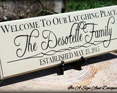 Welcome Sign for Front Door Welcome Sign Welcome Signs Outdoor Welcome Wedding Sign New Home Housewarming Gift New Home Sign Laughing Place