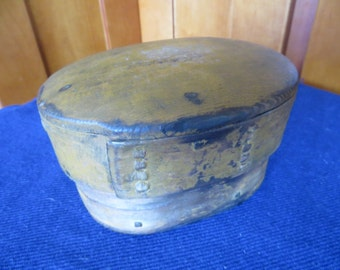 Early Antique Primitive Bentwood Box, original paint, dated 1892