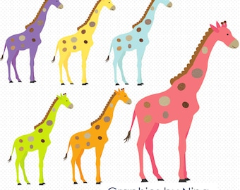 INSTANT DOWNLOAD  Colorful Giraffe Clipart  Scrapbook for Personal and Commercial Use