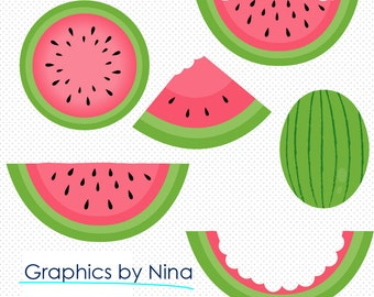 INSTANT DOWLOAD    Watermelon Clipart  Scrapbook for Personal and Commercial Use