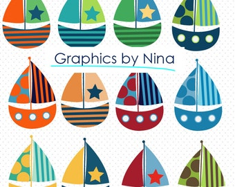 INSTANT DOWNLOAD   Sailboats Clipart  Scrapbook for Personal and Commercial use