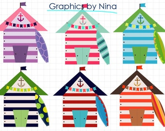 INSTANT DOWLOAD   Beach Houses  Summer clipart  Scrapbook for Personal and Commercial Use