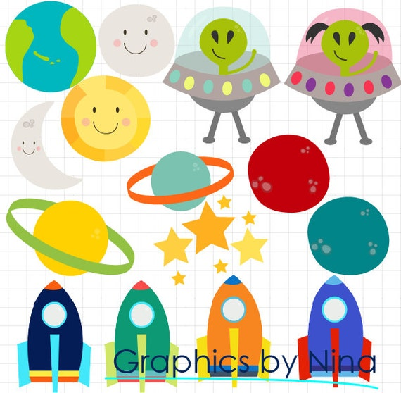 INSTANT DOWNLOAD Space Spaceship Stars Planets Sun Moon ...