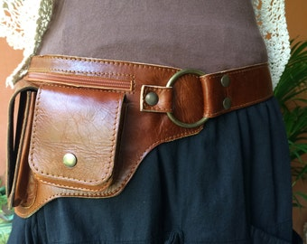 Fanny Pack / Leather Hip Bag / Utility Belt / iphone 7 / Belt with Pockets / Burning Man / Festival / Belt Pouch / Purse Belt / Steampunk