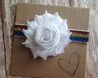 Flower Rainbow Headband, Rainbow, Flower, Newborn, Baby