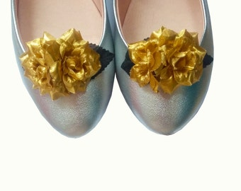 10% off with the code BDAY10  Metallic Gold Rose Floral Shoe Clips - pin up, rockabilly, vintage