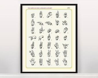 Sign Language Alphabet Poster - Sign Language Art - Language Poster - Language Art - Alphabet Poster - Alphabet Art - Deaf - Deaf Art