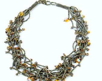Glass Bead Necklace (Mocha) (010B)