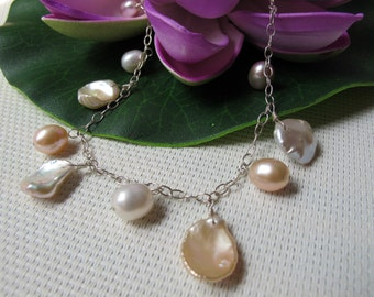 """18"""" Natural Keishi and Rice Freshwater Pearl 925 Sterling Silver Necklace N16"""