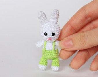 Tiny 2-inch Amigurumi Bunny Plush / Miniature Stuffed Animal Crochet Toy