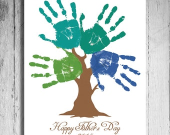 Fathers Day Gift Last Minute Printable Gift - DIY Child's Handprint Tree - Printable pdf - kid's craft project - Tree Art Project