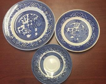 Blue Willow Dessert Plate/Saucer Trio