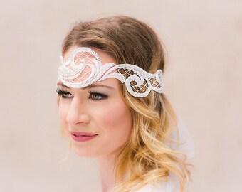 Bridal headband embroidered lace flapper Great Gatsby elf headdress