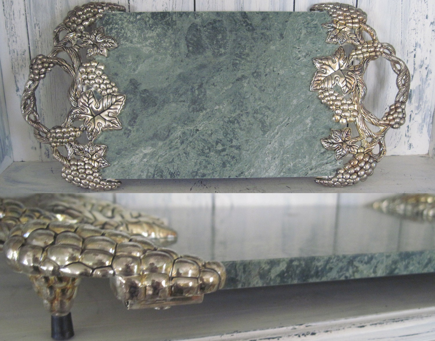 Vintage Godinger Green Marble Cheese Board Tray With Silver